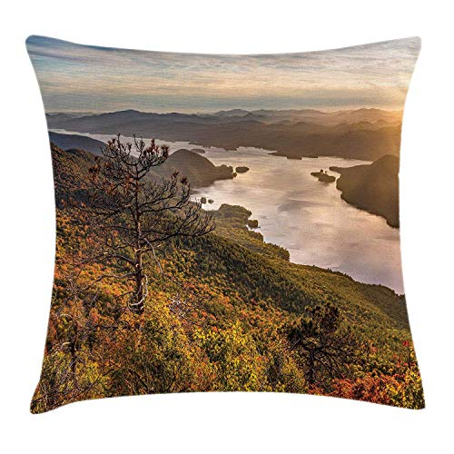 Adirondack Throw Pillow Cushion Cover, The Narrows of Lake George Scenery with Surrounding Mountains on The Background, Decorative Square Accent Pillow Case, 18 X 18 Inches, Multicolor -