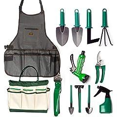 Idea Regalo - Set di attrezzi da giardino di 13 utensili in acciaio INOX kit da giardinaggio resistente con borsa da giardino, tela grembiule, forbici da potatura