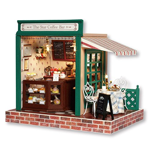 , Coffee Bar Shop Cafe Model Handcraft Miniature Kit with Music box ()