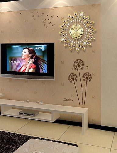 WI An der Wand befestigte dekorative Uhr, Hauptwanduhr, Moderne Art-Mode-kreativer Tuba-Diamant mit Eisen-stummer Wanduhr, Wohnzimmer-Uhr