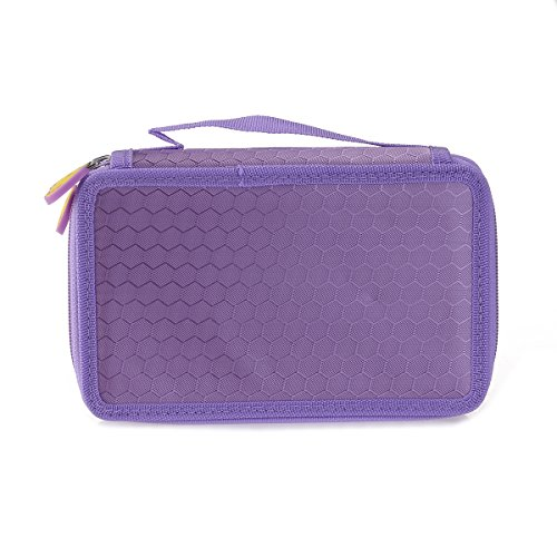 WINOMO 48 Slots Pencil Holder Organizer 3-layer Colored Pencil Case Students Pen Pouch Bag Stationary Box with Zipper for Art School Office Travel (Purple)