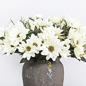 Smartcoco – 10 flores artificiales de seda de margarita para decoración de boda vintage para el hogar, paquete de 1 (blanco leche)