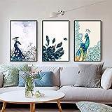 tzxdbh Schöne Pfau Tiere Blume Poster Leinwand Drucke Wandkunst Gemälde Bilder für Wohnzimmer Hauptdekorationen-in Malerei & Kalligraphie von