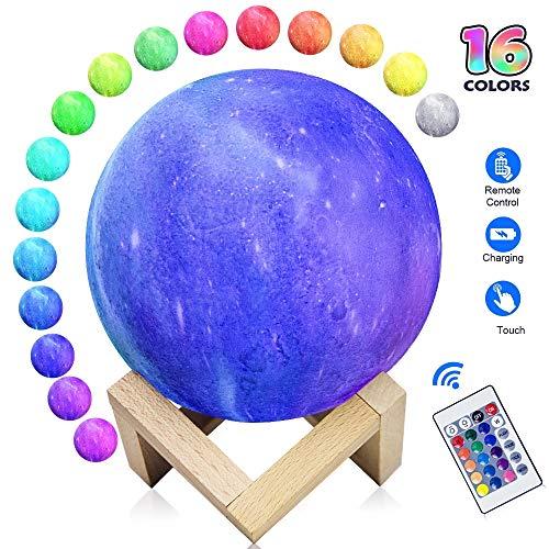 Lámpara luna 3D, 16 colores 15 cm LED Impresión