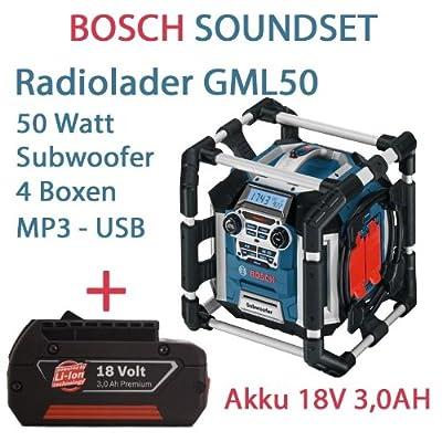 Bosch SOUNDSET Radiolader GML 50 mit Fernbedienung für 14,4/18,0V Bosch Li-Ion Slider Akkus 50 Watt Musikleistung mit Subwoofer + 1x Akku 18V 3,0AH