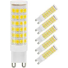 Paquete de 5 bombillos G9 LED, 7W G9 bombillas LED, sin parpadeos, reemplazo de bombillas halógenas de 50W, 450LM, blanco cálido, ángulo de haz de 360 °
