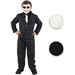ILOVEFANCYDRESS Disfraz de traje de rayas y maquillaje facial de esqueleto para niños, color blanco y negro