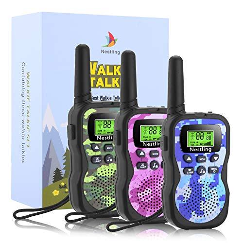 Nestling Talkie Walkie Enfants 8 Canaux Radio Écran LCD Lampe Torche Fonction VOX 10 Tonalités d'Appel Verrouillage des Canaux,Cadeau pour Les Enfants(Camouflage,Pack de 3)