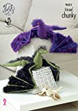 King Cole 9051 Knitting Pattern Toy Dragons in Tinsel Chunky and Pricewise DK