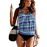 Minetom Femme Eté 2 Pieces Imprimé Floral Tankini Bikini Tops Triangle Shorts Maillot de Bain Beachwear Swimwear Swimsuit