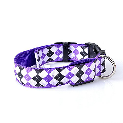 Dimart-Plaid-Pattern-Nylon-Adjustable-LED-Light-Flashing-Puppy-Safety-Collar-Glow-Night-Walk-Pets-Dog-Cat-Collar