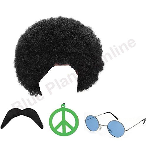 Hippy Man Set with  1970s Afro Wig, Sunglasses, Moustache and Medallion.