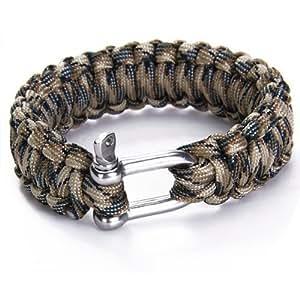 Paracord 550 braccialetto di sopravvivenza con acciaio inossidabile U Grillo - Desert Camo