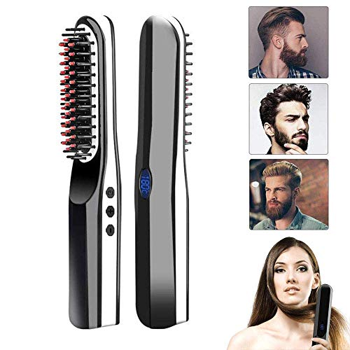 Beard Straightener, lesgos New USB Rechargeable Inalámbrico Cepillo Alisador de Pelo, Portátil Anti...