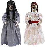 Höllische Geschwister Halloween Puppen Sad Sally und Creepy Carlotta 0,8 Meter groß Leuchtaugen Sound inkl. Batterien und Pop Ey Keychain