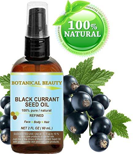 Olio di semi di ribes nero. 100% puro/naturale/non diluito/raffinato pressato a freddo. 2fl. oz–60ml. Per pelle, capelli, labbra e unghie by Botanical beauty.