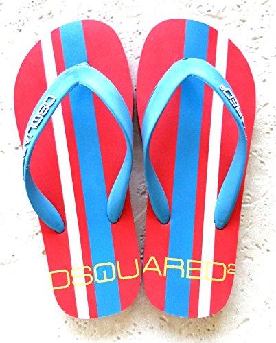 Dsquared Hombre Infradito Uomo In Gomma Sandalias Flip-Flop Rojo Size  39 868e48bd6a9c