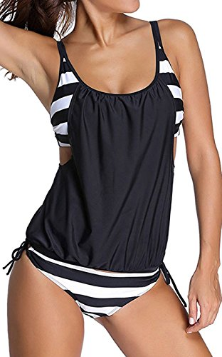 Scothen Damen Padded Bikini-Set Streifen zweiteilig Swimwear Beachwer Bikini Set Streifen zweiteilig Schwimmanzug Tankini Bademode Strand Bikini Oberteile + Höschen Oversize Tankini Sets Badeanzug Schwarz