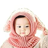 Cadiyo Baby Mädchen Jungen Winter Mütze Schal Earflap Hood Schal Skull Caps (Hellrosa)