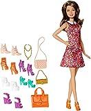 Original Mattel Barbie DMP10 - Puppe Teresa, brünett mit coolem Kleid und zahlreichen Accessoires wie 3 x Handtasche, 6 x Schuhe, 1 x Schmuck