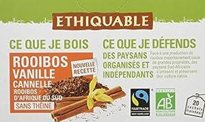 Ethiquable Rooibos Vanille Cannelle Afrique du Sud Bio 20 Sachets 40 g - Lot de 4