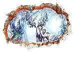 QTXINGMU Fantastische Wald REH Baum Durch Die Wand Aufkleber Home Decor Wohnzimmer 3D-Lebendige Landschaft Wand Aufkleber Kunst PVC Poster DIY Wandbild