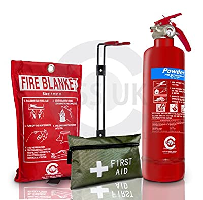 FIRE Safety Essentials. 2 X 1 KG ABC Dry Powder FIRE Extinguisher. Ideal for Homes, Boats, Kitchen Offices WORKPLACES by Fss Uk
