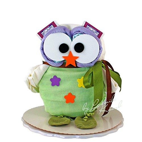 Windeltorte - Windeleule / Pamperstorte > Babygeschenk für Mädchen und Jungen in schönem Grünton // Geschenk zur Geburt, Taufe, Babyparty // originelles und praktisches Geschenk für Babys