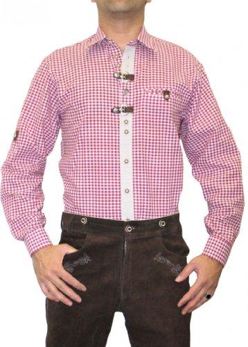 Trachtenhemd für Lederhosen mit Verzierung weinrot/kariert, Hemdgröße:3XL