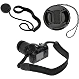 Birugear Black Soft Neoprene Camera Strap + 67mm Lens Cap And Lens Cap Holder For Nikon Coolpix P900