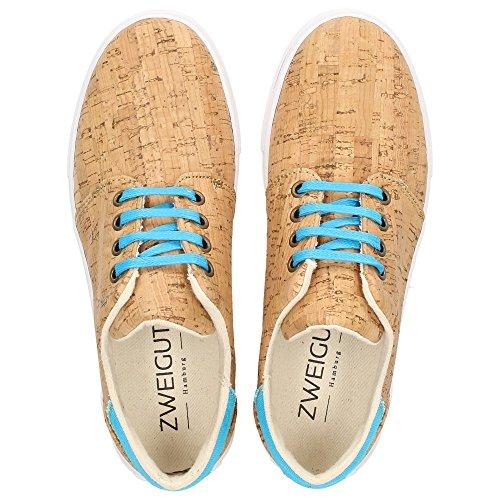 ZWEIGUT® -Hamburg- echt #401 Kork Allwettertauglich Schuhe Damen Halbschuhe Sneaker, vegan + nachhaltig aus echtem Kork, Schuhgröße:38, Farbe:türkis-kork - 6