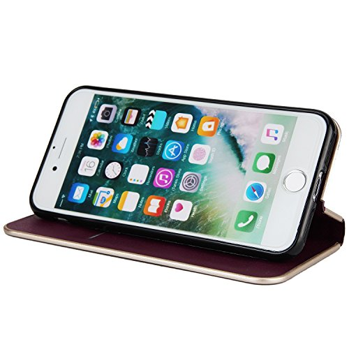 Schöner eleganter magnetischer Verschluss PU-lederner schützender Abdeckungs-Fall mit Kickstand und Einbauschlitz für iPhone 7 ( Color : Black ) Wine