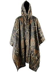 Mochoose Manteau de Pluie Veste Camouflage Poncho Imperméable à Capuche Multifonctionnel Raincoat Outdoor Sport Chasse Cyclisme Travail Militaire Jacket Blouson de Moto Vélo pour Homme
