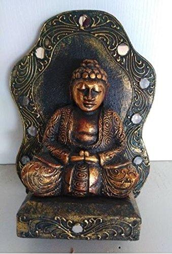 Statua buddha altare - india rajasthan legno di teak polvere d'oro e specchietti 34x24 hxl arredo etnico accessori etnico soprammobili etnici etnico vintage orientale d'epoca antiquariato