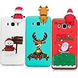 YKTO Hülle Samsung Galaxy J5 2016 J510 Case 5.2 Zoll 3D Weihnachten Handyhülle [3 Stück] Stoßfest Weich Silikon Schutzhülle Weihnachten Motiv Handytasche für SamsungJ5 2016