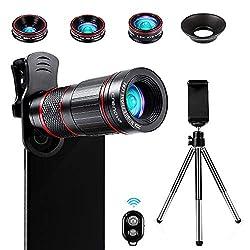 Crenova Handy Objektiv Kamera Linse Kit 22x Zoom Teleobjektiv, 235° Fischaugenobjektiv, 25 Makro-Objektiv und 0,62 Weitwinkelobjektiv für Iphone und die meisten Smartphone