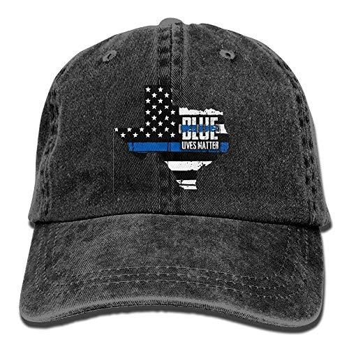 Basecap Hip-Hop Cap Kappe Unisex Snapback Meius Texas State Thin Blue Line Flag Washed Unisex Adjustable Lightweight Breathable Soft Baseball Cap Dad Hat Black -