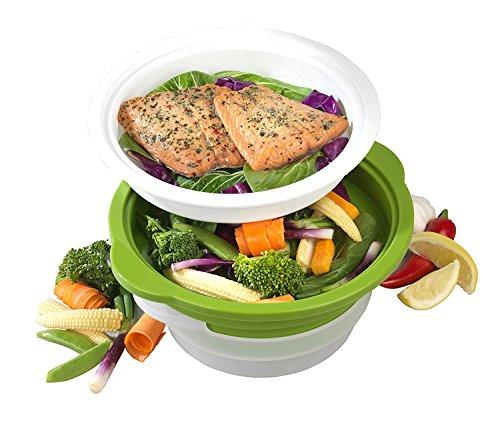 Salter bw06259duosteam Gesund Mikrowelle Gemüse/Fleisch und Fisch Dampfgarer, Carbon Stahl mit...