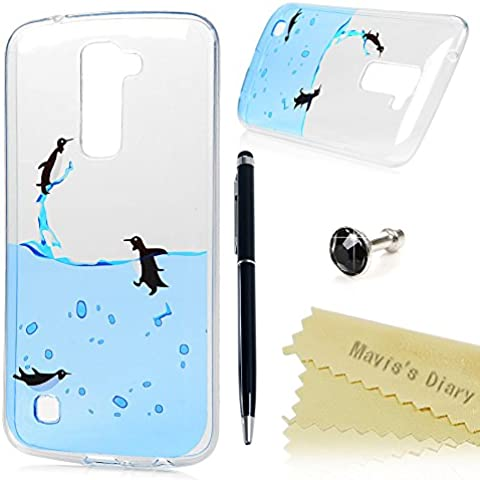 LG K10 Funda Silicona Gel TPU Transparente Ultra Slim - Mavis's Diary Carcasa Case Bumper Shock-Absorción y Anti-Arañazos - pingüino