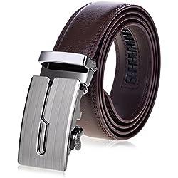 VBIGER Cinturón Cuero Cinturones Hebilla Automática (un tamaño, Marrón 3)