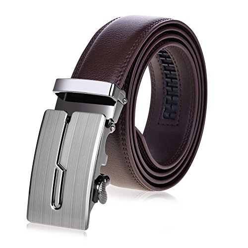 VBIGER Belt Leather Belts Automatic Buckle (one size, Brown 3)