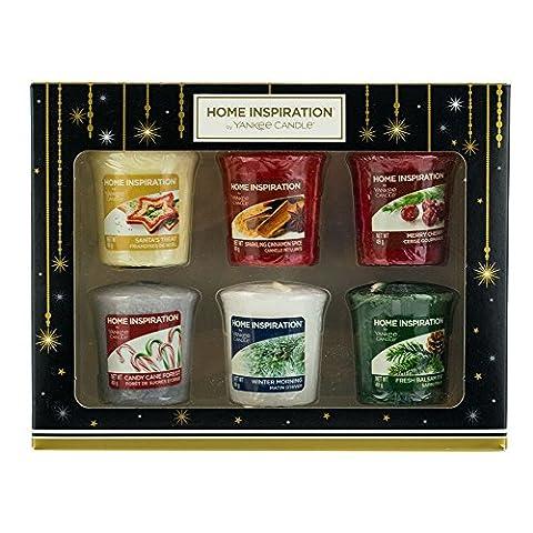 Yankee Candle Home Inspiration Bougies Votives de Noël Parfums Ensemble cadeau–Lot de 6
