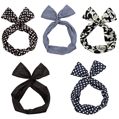 Twist Bow Wired Headbands Scarf Wrap Hair Accessory Hairband by Sea Team(5 Packs) by Sea Team