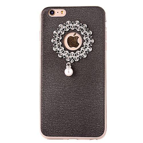 Clear Crystal Rubber Protettivo Case Skin per Apple iPhone 5/5s/SE, CLTPY Moda Brillantini Glitter Sparkle Lustro Progettare Protezione Ultra Sottile Leggero Cover per iPhone 5, iPhone 5s, iPhone SE + Nero 1