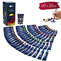 Artina Acrylic Paint Set Crylic 60x22ml Paints Painting Set Acrylic Colours for Professionals and Hobby Artists - In Various Sizes