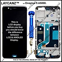 LAYCANZ. Oneplus 5 LCD Display + Touch Screen Digitizer Assembly with Bezel Frame Full Assembly + Aluminium 5in1 Tools for A5000 (Black)