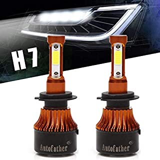 Autofather Newest H7 LED Headlight Bulbs Conversion Kit 360 Degree (4 Sides) Lighting16000LM Super Bright High or Low Beam Car Light Replacement 6000K White