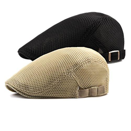 Decstore Paquete de 2 Hombres Beret de Algodón Plano Tapa Ivy Cabbie Newsboy Hat Verano Sombrero(Black+Khaki)