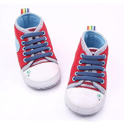 YOUJIA Unisex Baby Sandalen Neugeborenen Sandale Schuhe Rutschfest Ersten Wanderer Sommerschuhe Rot
