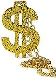 XXL Fasching Pimp Dollarzeichen Proll Halskette Gold Rapper Gangster Hip-Hop Kostüm Gold-Kette Anhänger Panzer-Kette Hals-Kette